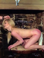 Cute blonde gets tied and her head put in the to..